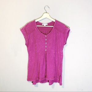 Anthropologie | Pink Burnout Button Up Top XS
